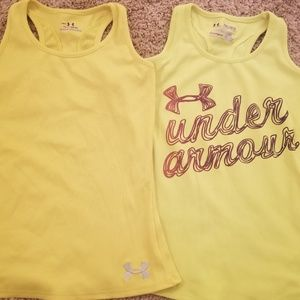 Two yellow under Armour tank tops